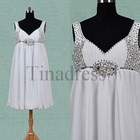 Custom White Big Size Beaded Short Prom Dresses Wedding Party Dress Homecoming Dresses Evening Dresses Maternity Dresses
