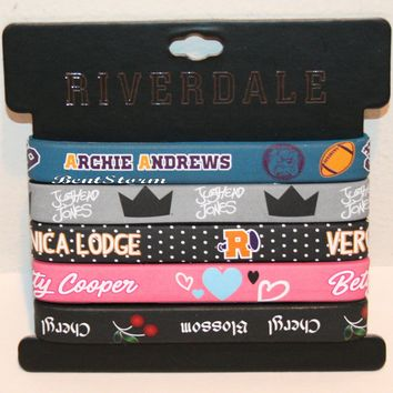 Licensed cool Riverdale 5pk Wristband Rubber Bracelet Set Archie Jughead Veronica Betty Cheryl