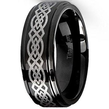 CERTIFIED 8MM Titanium Ring Wedding Band Black with Celtic Design