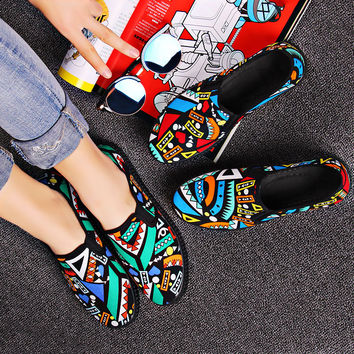Fashion durable flats zapatos planos female cute pattern slip on shoes teenager girl student school