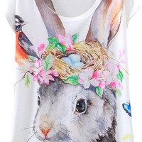 Eared Rabbit Print Loose Tee - OASAP.com