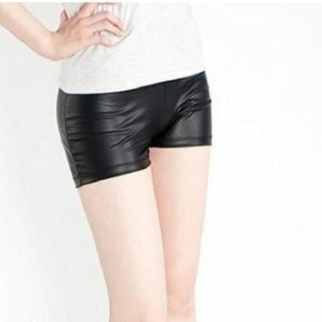 Faux Leather Stretch Shorts Vintage Mini Shorts Sexy Women Short