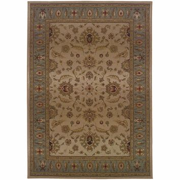 Genesis Beige Blue Oriental Persian Traditional Rug