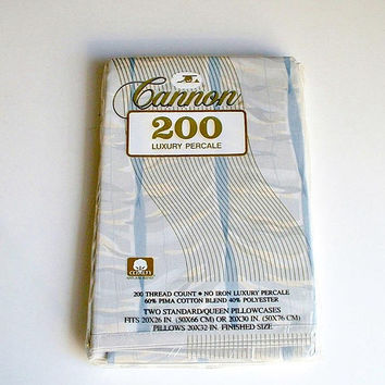 Vintage Cannon Pillowcases Luxury Percale in Package Blue White New Old Stock Standard Queen Pillowcases
