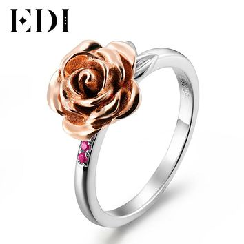 EDI Romantic Rose Flower Natural Ruby Female Party Ring 925 Sterling Silver Leaf Fine Jewelry For Women Rings Engagement Gifts