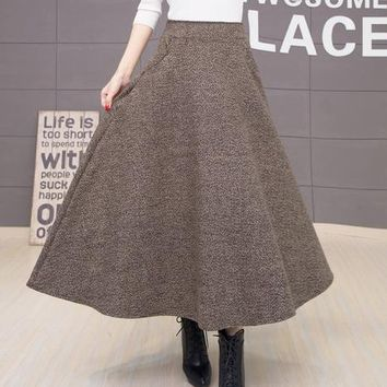 Winter High Waist Long Warm Wool Maxi Skirt