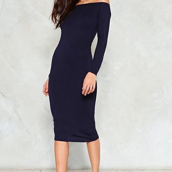 In the Stretch Off-the-Shoulder Dress