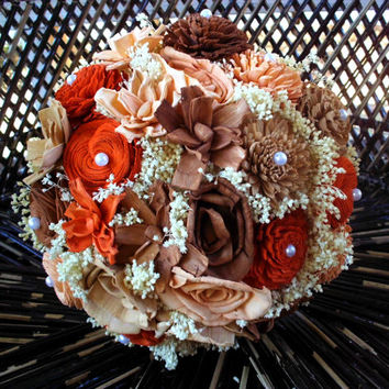 Rustic bridal bouquet sola bouquet wedding bouquet keepsake bouquet earth tone bridal bouquet Fall wedding Fall bouquet alternative bouquet