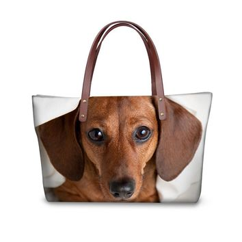 Women's Shoulder Bags - All Over Print Dachshund Dog Canvas Shoulder Beach Tote Purse Canvas Handbags Totes Bags