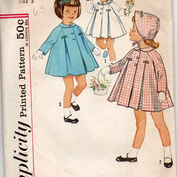Simplicity Girls Toddler 1950s Sewing Pattern Size 3 Coat Inverted Pleats Bonnet Hat Flared Jacket Raglan Sleeves