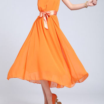 Blue/ Green/ Orange Chiffon dress women dress fashion dress Long dress--WD042