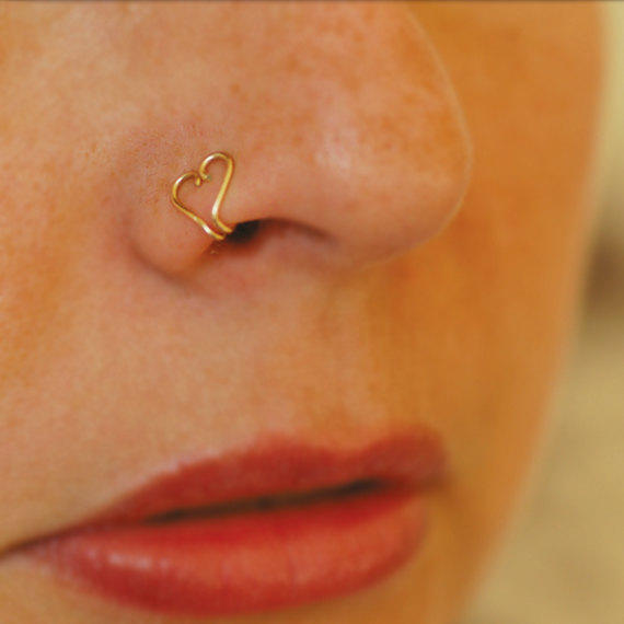 Fake nose ring, Gold heart nose ring, from junelittleshop ...