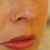 Fake nose ring, Gold heart nose ring, gold body jewelry, Non Pierced nose earring, fake piercing, NO piercing - Clip on