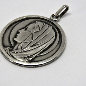 Vintage French, Silver, Virgin Mary, Pendant, SHIPPING INCLUDED