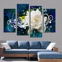 2015 Hot Sell 4 panel gardenia wall painting white Flowers print Large HD Picture Modern Home Wall Decor Canvas Print Painting