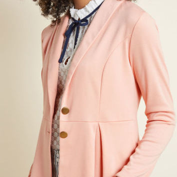 Pulled-Together Pick Knit Blazer in Pink