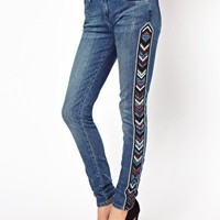 River Island Amelie Skinny With Aztec Panels at asos.com
