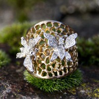 Panetti Sterling Crystal Butterfly Statement Ring
