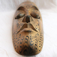tall vintage wood mask - face wood carving - woodworking native decoration - primitive decor - totem wolf paint - long big