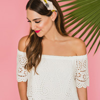 Becky Ivory Off the Shoulder Embroidered Top