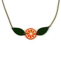 Orange slice necklace with green leaves, mandarin necklace, clementine necklace, painted plastic (recycled CD) fruit necklace