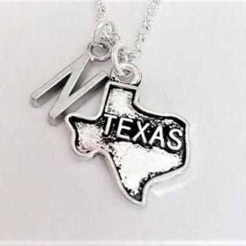 Texas necklace initial necklace Texas jewelry Texas map necklace friendship best friend no matter where monogram necklace Texas girl bff