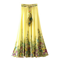 Chiffon Long Ladies Boho Saia Lolita Maxi Casual Skirts