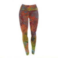 "Jeff Ferst ""Fall Colours"" Red Painting Yoga Leggings"