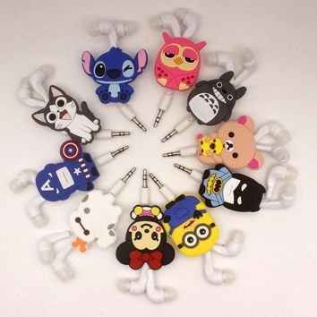 2017 New Cartoon 3.5mm In-Ear Earphone Headset Wired Avenger Batman Superman  Stitch Cheese cat for mp3 mp4