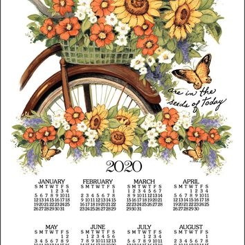 Calendar Towel 2020 - Bicycle Floral