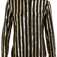 Balmain Striped Silk Lamé Shirt