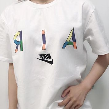 """Nike"" Unisex Sport Casual Multicolor Letter Logo Print Couple Short Sleeve T-shirt Top Tee"