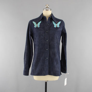 Vintage 1970s Denim Shirt / 70s Embroidered Blouse / 1960s Hippie Shirt / 60s Bohemian Butterfly Butterflies / Size Small S