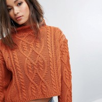 PrettyLittleThing Cable Knit Cropped Jumper at asos.com
