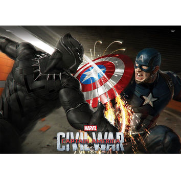 Captain America Civil War Cap Vs Black Panther MightyPrint