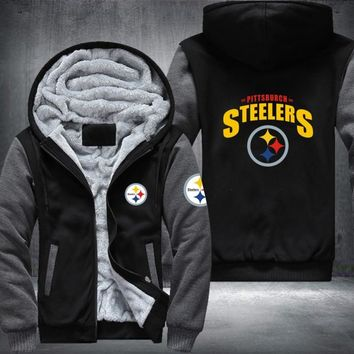 NFL Pittsburgh Steelers team printed fleece hoodie zipper jacket ~ Plus size