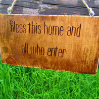 Bless This Home and All Who Enter Wood Burned Distressed Rustic Wood Sign, Welcome Sign, Front Door Sign, Wall Decor, Cabin Decor,Cabin Sign