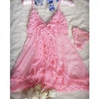 Sweet and Fashion Layers Ruffles Design Shoulder-Strap Short Nightgown For Female