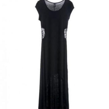 High Low Maxi Dress with Lace Insert