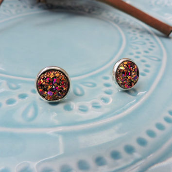 10mm Hot Pink and Purple Rainbow Gold Druzy Drusy Geode Mineral Stud Earrings with Silver Plated Bezel, Gift for Her, Fashion, Trendy