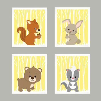 Forest Animals on Light Yellow, Woodland Animals, CUSTOMIZE COLORS, 8x10 Prints, set of 4, Nursery Decor, Animal Print, Baby Boy Wall Prints