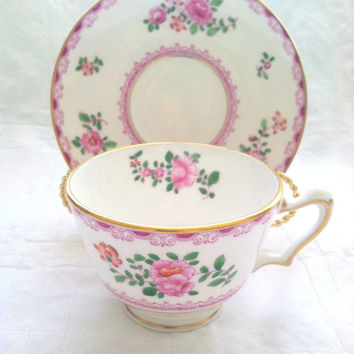 Vintage English Crown Staffordshire Fine Bone China Tea Cup and Saucer Birthday, Thank You or Housewarming Gift Inspiration