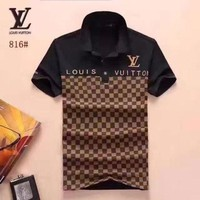 LV men and women T-Shirt Black, brown, RED