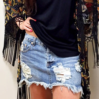 One Teaspoon // Junkyard Denim Skirt