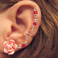 "Prom Cartilage Ear Cuff ""Summer Rose"" Watermelon & White Wedding Bridal No Piercing Helix Conch"