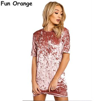 Fun Orange Short Sleeve Velvet Short Casual Women Dress 2017 New Fashion Women Clothing Elegant Party Dresses