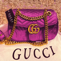 GUCCI New Fashion Women Shopping Leather Metal Chain Leisure Crossbody Satchel Shoulder Bag Velvet Purple
