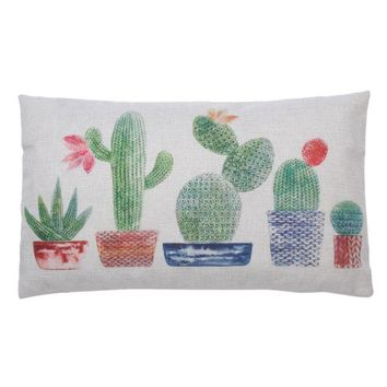 Cactus Succulent Woven Cotton Throw Pillow
