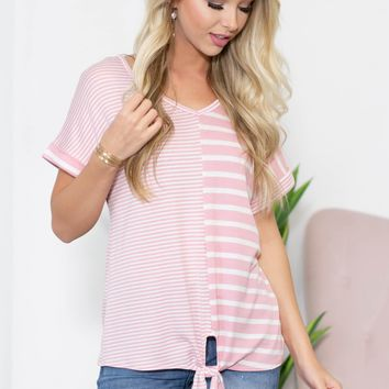 Split Stripe Print Knot Top