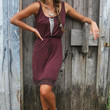 San Pedro Town Burgundy Light Acid Wash Tank Dress